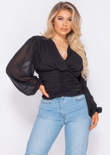 Shirring Detail Wrap Front Top